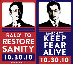 Restore Sanity / Keep Fear Alive Rally logos