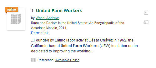 Citation to United Farm Workers article in Race and Racism encyclopedia.