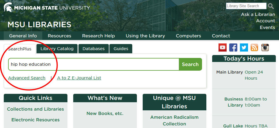 "MSU Libraries website with terms ""hip hop education"" in search box"