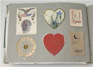 Page from student scrapbook showing greeting cards