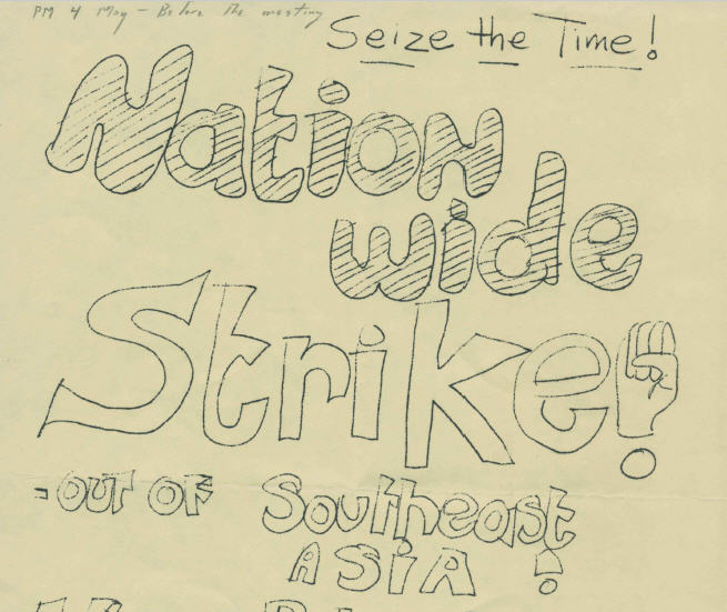 Flyer from vertical file on MSU Student Strike, May 1970