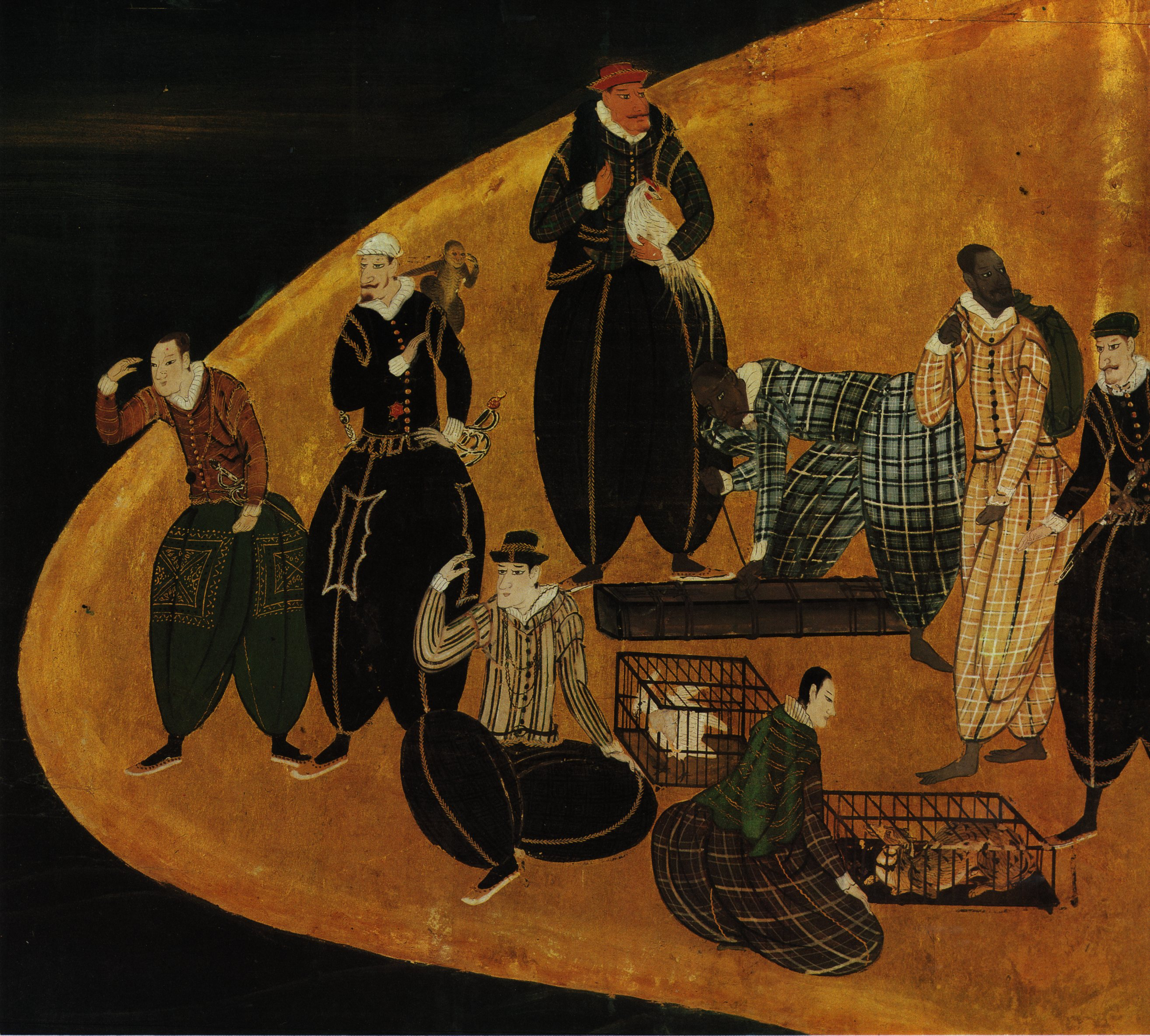 Portuguese trading animals in Japan; detail of Nanban panel (1570-1616)