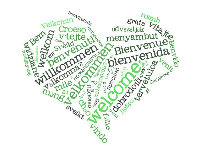 image of a word cloud with welcome in many languages
