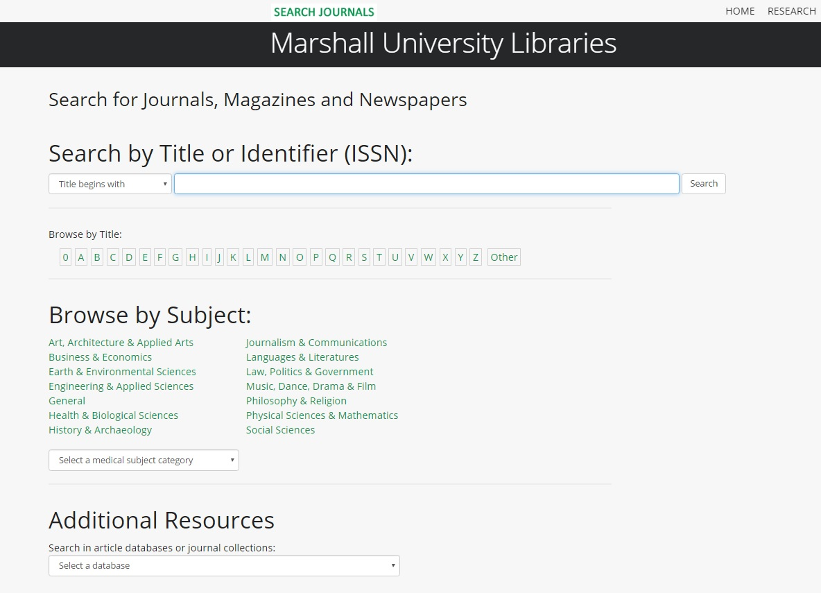 New MU Journals Search