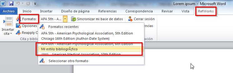 RefWorks: editor de estilos