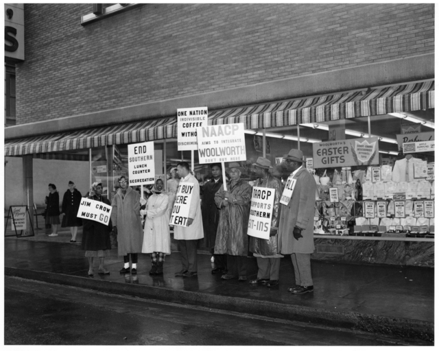 NAACP members picketing outside Woolworth's for integrated lunch counters, St. Paul, 1960