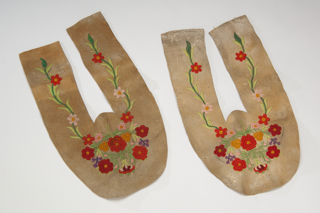 Embroidered unfinished moccasin vamp and upper, 1860