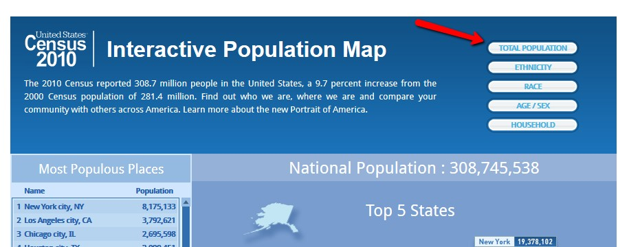 Interactive Population Map - Total Population