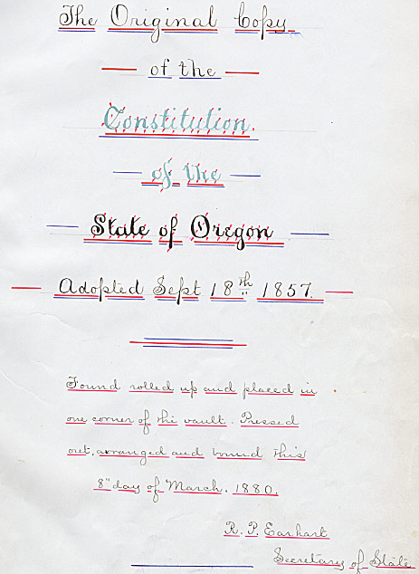 Title Page of Oregon Constitution