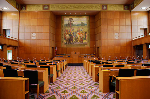 The House of Representatives Chamber in the Oregon State Capitol in Salem
