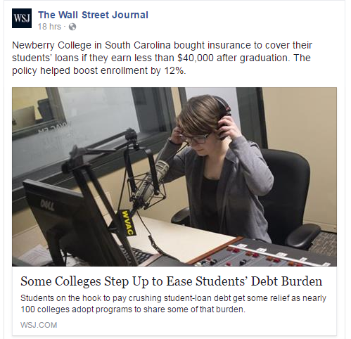 The Wall Street Journal - Newberry College! 3/27/17