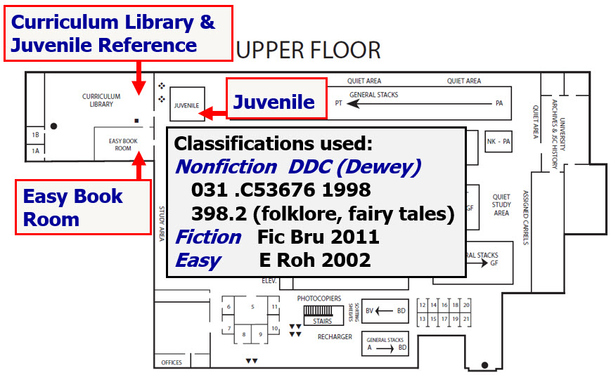 Map of upper floor with Curriculum Library, Juvenile Reference, Easy Book Room, and Juvenile locations noted