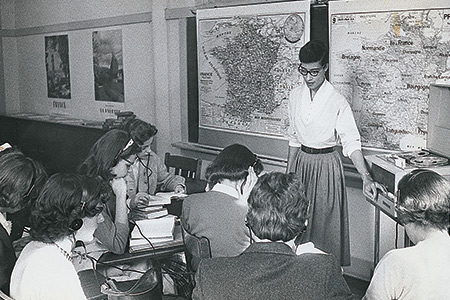 Faculty and students in a classroom