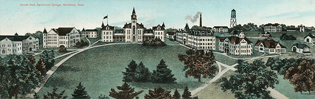 Old drawing of Kansas State University grounds. Link opens to new window showing larger view.