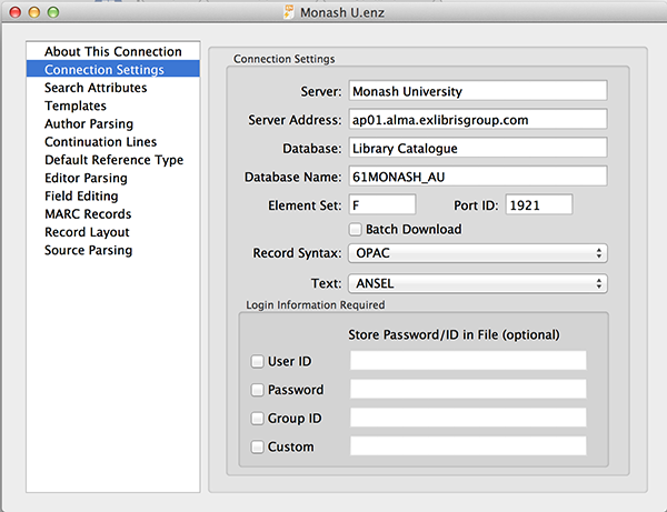 EndNote Monash U connection file settings