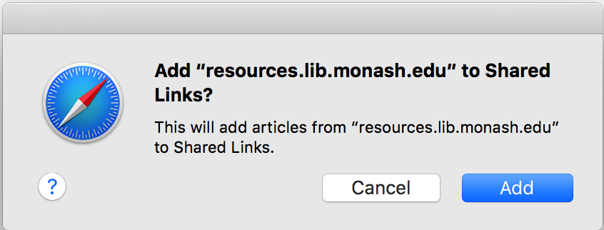 Add to Shared Links message box