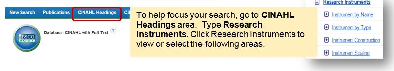 CINAHL Research Instruments Subject Search