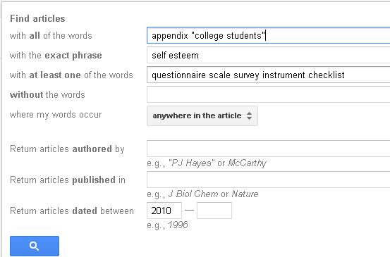 Google Scholar Advanced Search Screen