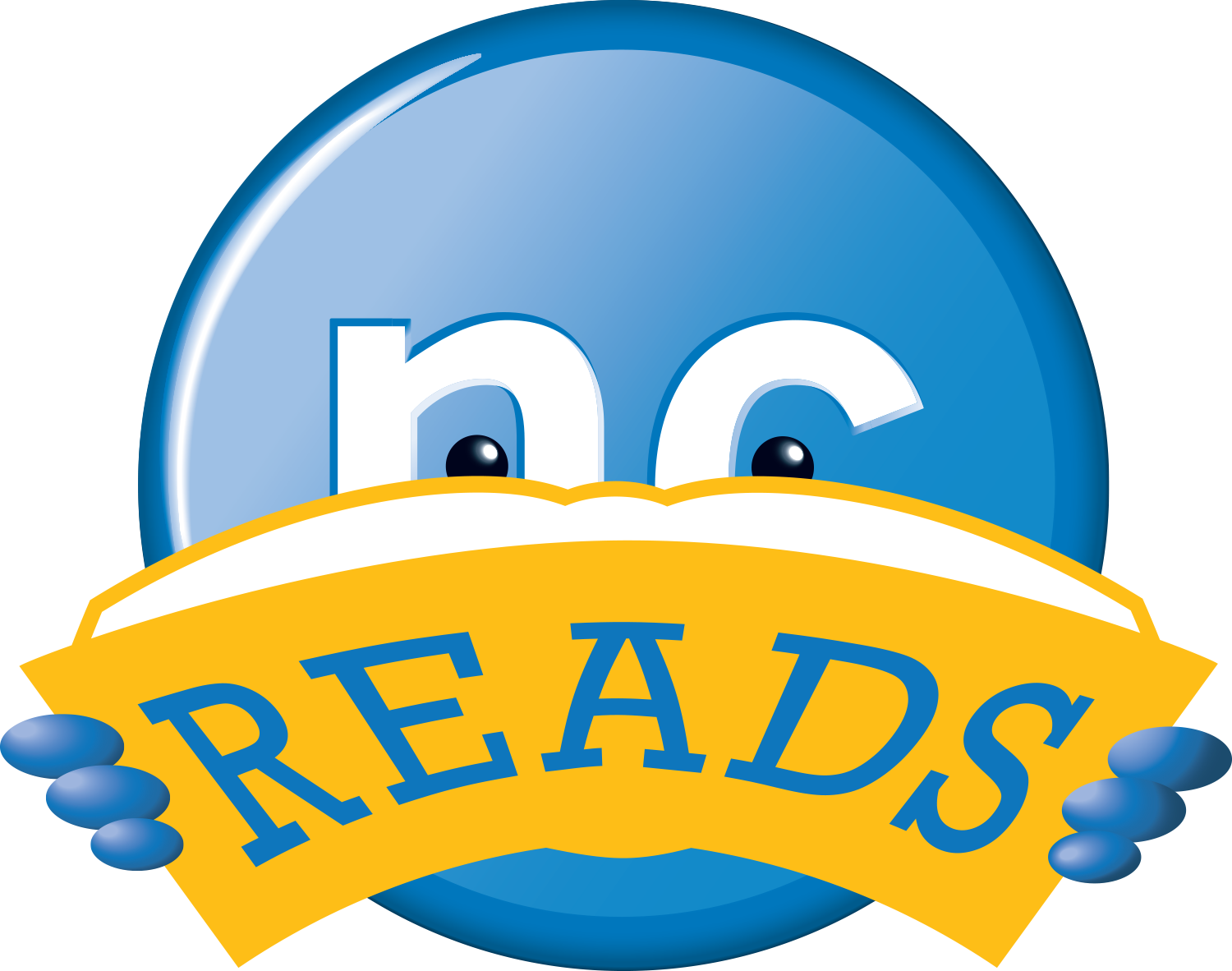 ncreads logo, white nc in a blue circle holding open book