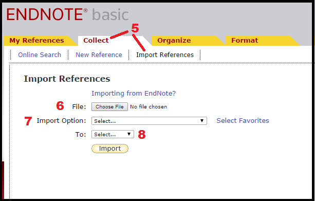 Picture of where to go to import citations in EndNote Web