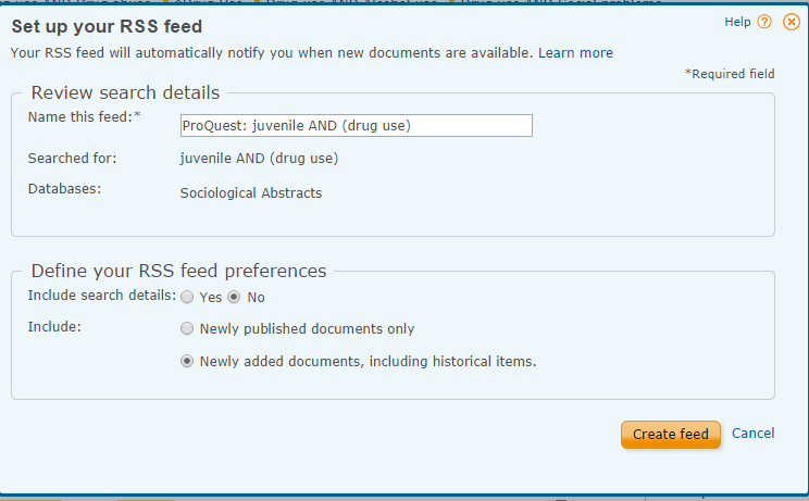 Image of how to set up an RSS feed in ProQuest databases