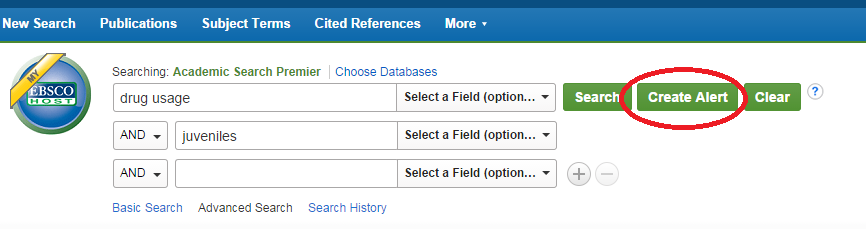 Picture of where to find Create Search Alert option for EBSCO