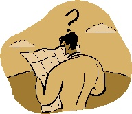 Graphic image of man looking at a map confused.