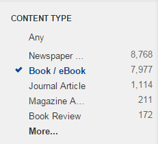 Limit to Book / eBook from the Content Type options