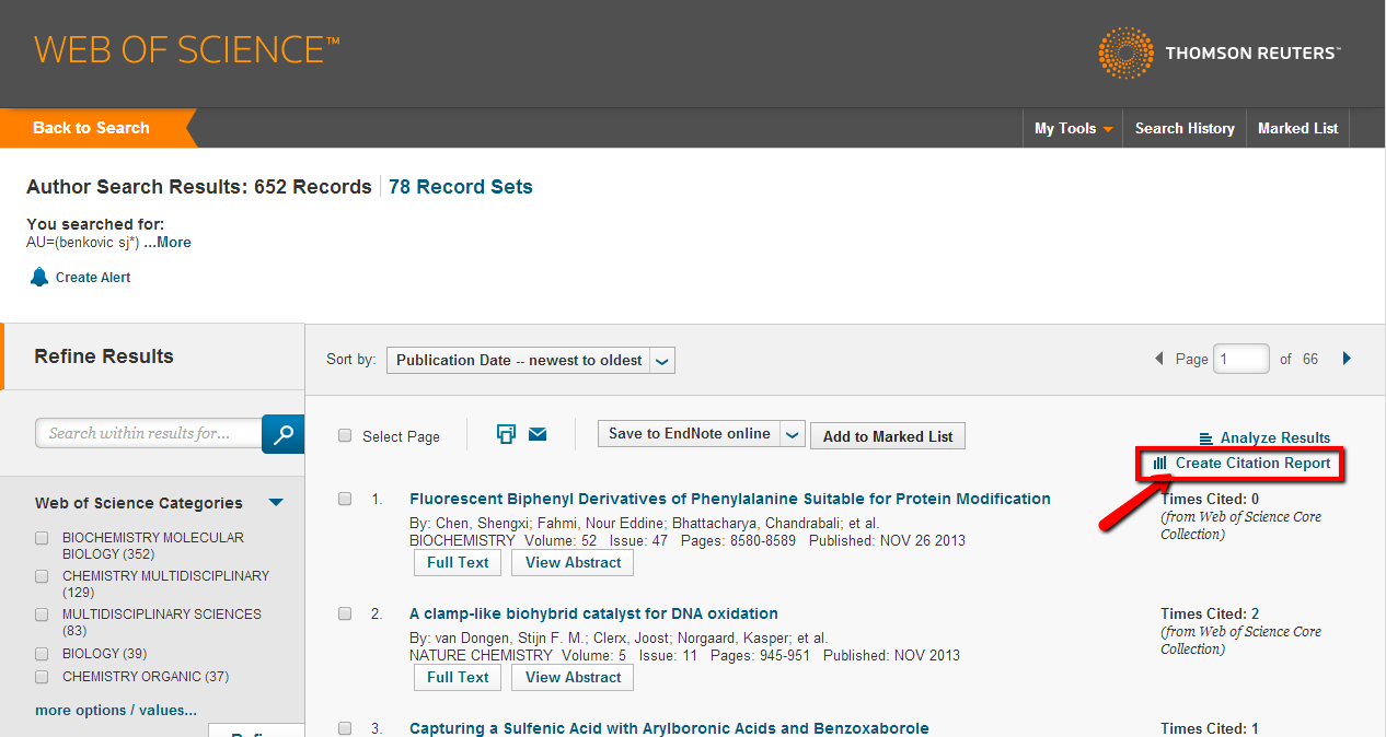 Web of Science screen showing location of Create Citation Report option