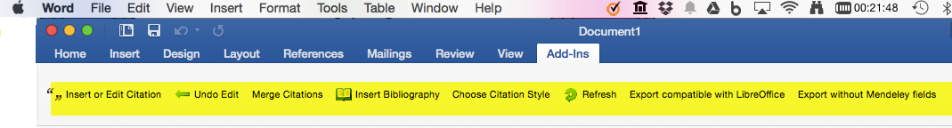 Word ribbon showing the references tab and the insert citation option under the Add-Ins menu