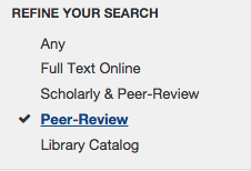 Refining your search to peer-review