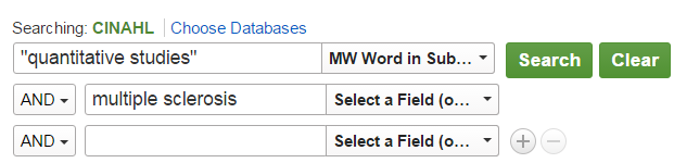 "Sample search from CINAHL showing ""quantitative studies"" in the first search box with MW Word in Subject selected as the option, and ""multiple sclerosis"" in the second search box."