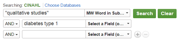 "Sample CINAHL search showing ""qualitative Studies"" in the first search box with the option set to MW Word in Subject, and ""diabetes type 1"" in the second search box"