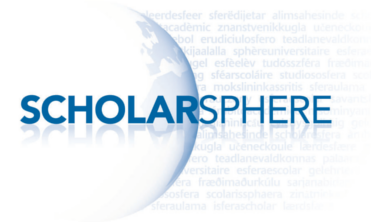 Scholarsphere logo with globe and text