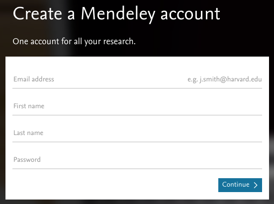 Create a Mendeley account form