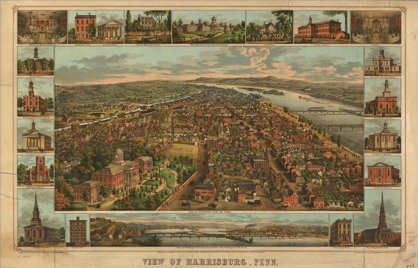 aerial map of Harrisburg showing some prominent  buildings