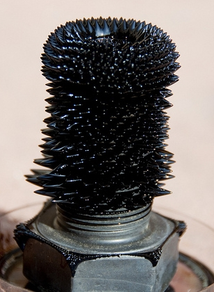 bolt with spikey projections from ferrofluid