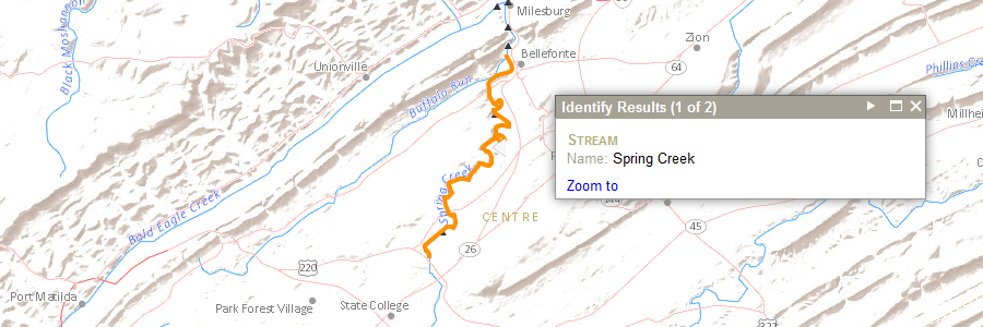 map of the State College area highlighting Spring Creek