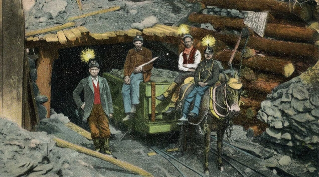 drawing of a tunnel entrance showing two men sitting on a cart, one sitting on a mule, and a fourth standing nearby