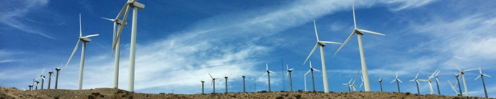 Large group of wind turbines
