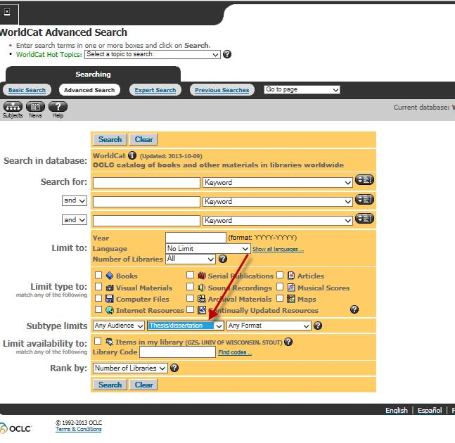 Image of WorldCat Advanced Search Screen