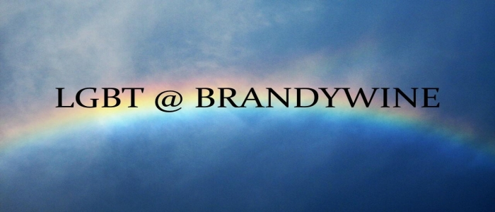 text LGBT @ Brandywine on a blue background with a rainbow