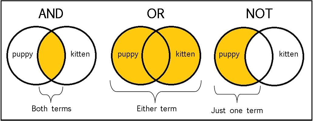 'And' means both terms must be included; 'or' means either word is present; 'not' means the second term is not present.