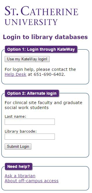 Off-campus login page