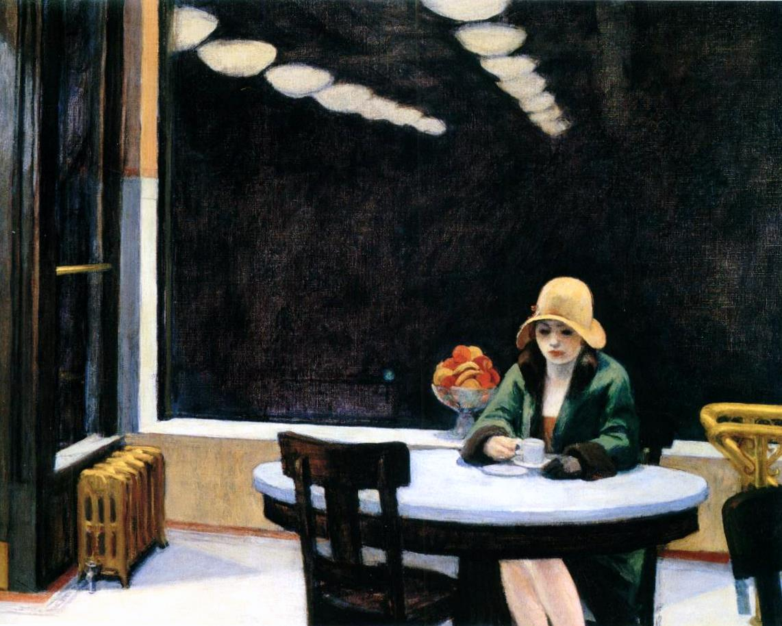 Edward Hopper, Automat, 1927, oil on canvas, 71.4 x 91.4 cm (Des Moines Art Center, IA, USA)