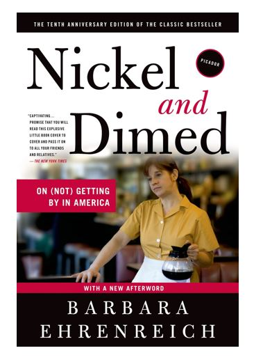 Book Cover of Nickel and Dimed by Barbara Ehrenreich