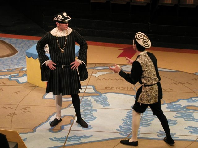 Two actors on stage in Shakespeare's A Comedy of Errors