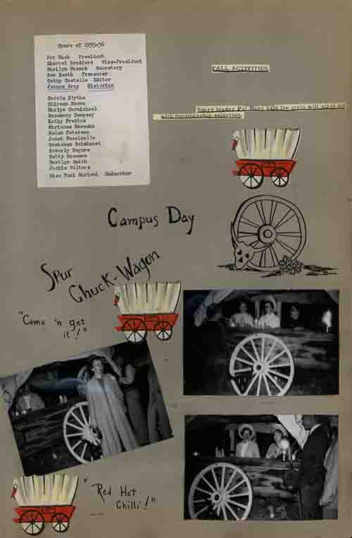"part 2/2: ""Campus Days"", Zagettes Scrapbook, 1955-1956."