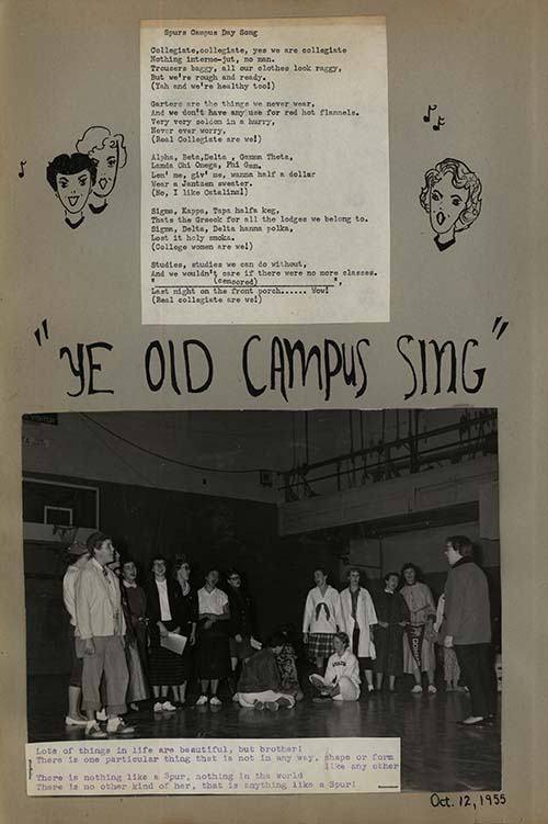 "part 1/2: ""Campus Days"", Zagettes Scrapbook, 1955-1956."