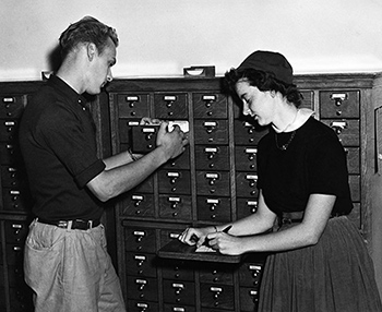 Students at card catalog, 1950's